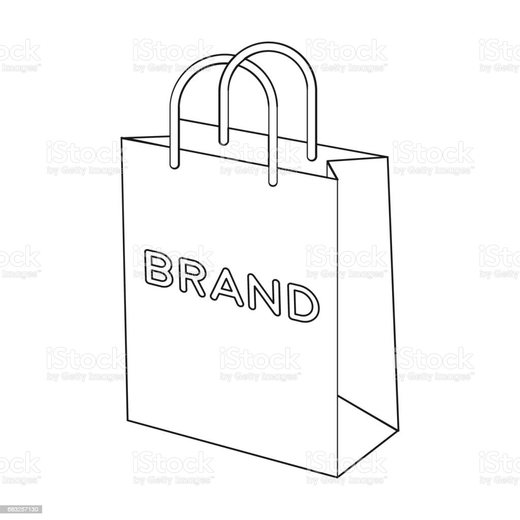 Shopping bag icon in outline style isolated on white background. E-commerce symbol stock vector illustration. shopping bag icon in outline style isolated on white background ecommerce symbol stock vector illustration - arte vetorial de stock e mais imagens de arte royalty-free
