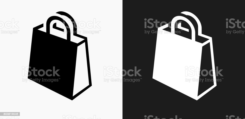 Shopping Bag Icon On Black And White Vector Backgrounds Stock Vector