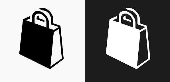Shopping Bag Icon on Black and White Vector Backgrounds. This vector illustration includes two variations of the icon one in black on a light background on the left and another version in white on a dark background positioned on the right. The vector icon is simple yet elegant and can be used in a variety of ways including website or mobile application icon. This royalty free image is 100% vector based and all design elements can be scaled to any size.