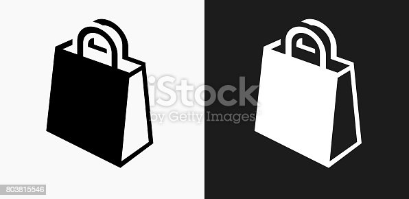 istock Shopping Bag Icon on Black and White Vector Backgrounds 803815546