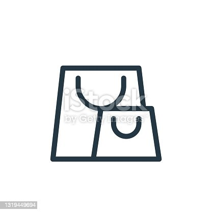 istock shopping bag icon vector from ecommerce line concept. Thin line illustration of shopping bag editable stroke. shopping bag linear sign for use on web and mobile apps, logo, print media.. 1319449694