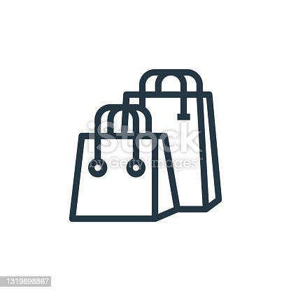 istock shopping bag icon vector from marketing seo business concept. Thin line illustration of shopping bag editable stroke. shopping bag linear sign for use on web and mobile apps, logo, print media.. 1319698867