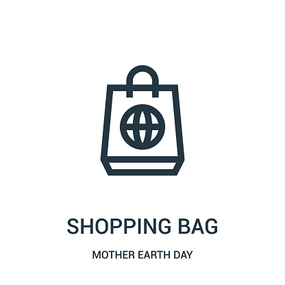shopping bag icon vector from mother earth day collection. Thin line shopping bag outline icon vector illustration.