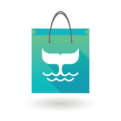Shopping bag icon with a whale tail