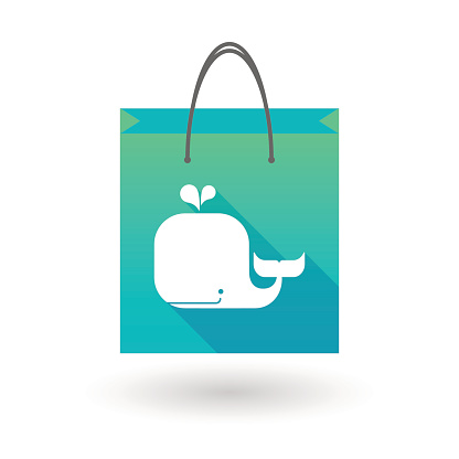 Shopping bag icon with a whale