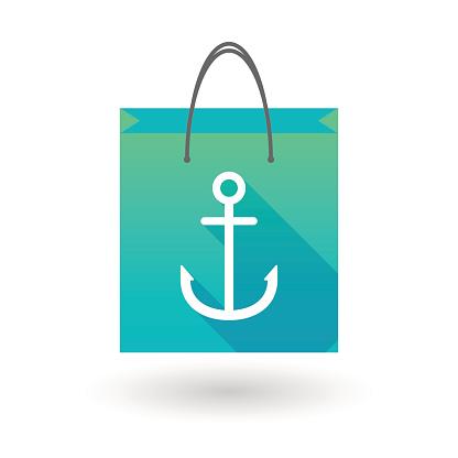 Shopping bag icon with an anchor