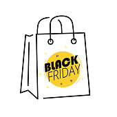 Shopping bag Icon with artwork in front. Black Friday. Modern style.