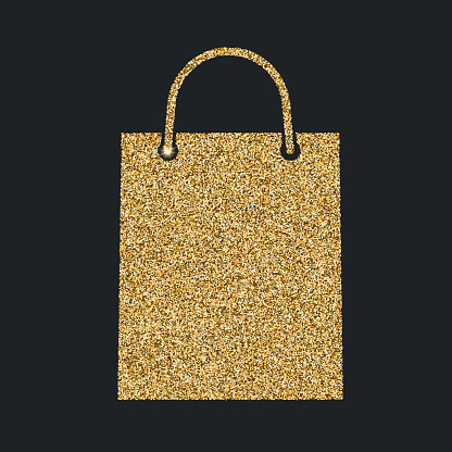Shopping bag icon with glitter effect, isolated on black background. Outline icon of paper bag, vector pictogram. Symbol from golden particles dust