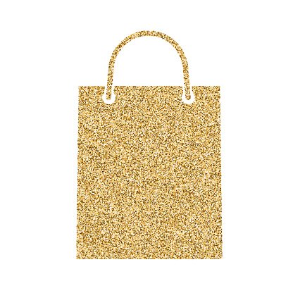 Shopping bag icon with glitter effect, isolated on white background. Outline icon of paper bag, vector pictogram. Symbol from golden particles dust