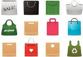 Vector illustration of shopping bags. Each icon is properly grouped and placed on top of shadow. Download includes hi res (4300 x 3036, 300dpi) PSD file with separated icons and shadow layers over transparent background.