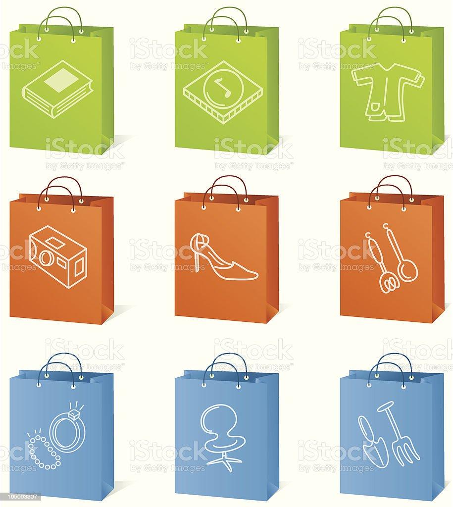 Bolsa de compras ícones - ilustração de arte em vetor
