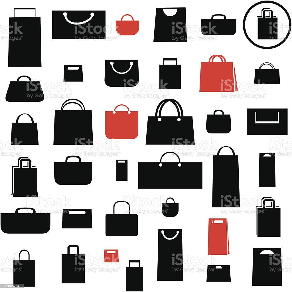 Shopping bag icons vector art illustration