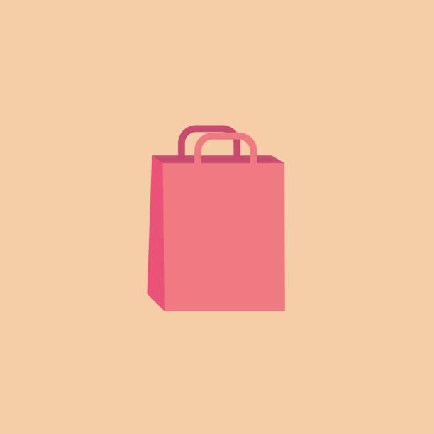 Shopping bag in vector flat style vector art illustration