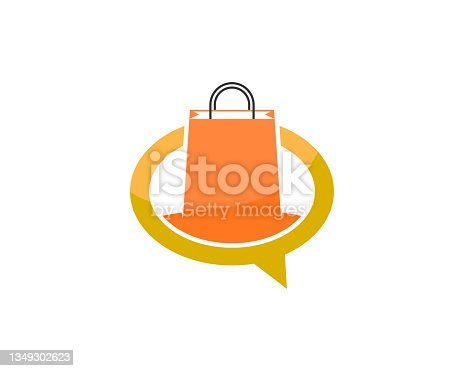 istock Shopping bag inside the bubble chat 1349302623