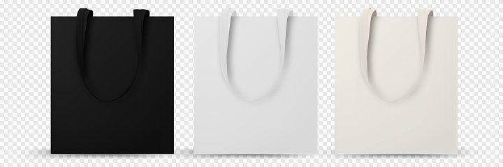 Shopping bag isolated. Cotton eco tote blank template. Blank eco template, Bags mockup. Vector illustration isolated.