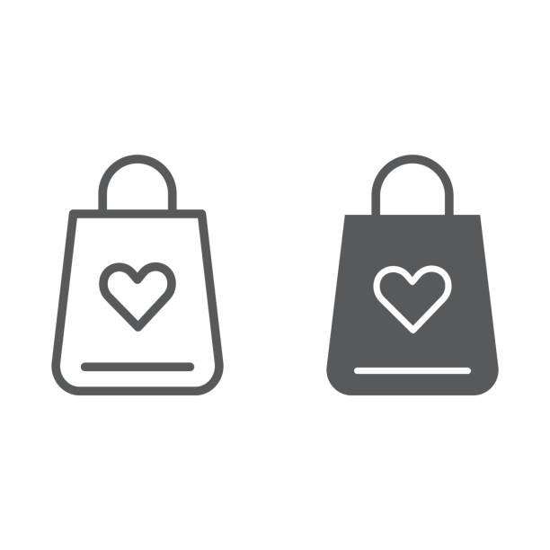 Shopping bag line and glyph icon, love and gift, package with heart sign, vector graphics, a linear pattern on a white background. Shopping bag line and glyph icon, love and gift, package with heart sign, vector graphics, a linear pattern on a white background, eps 10. ethical consumerism stock illustrations