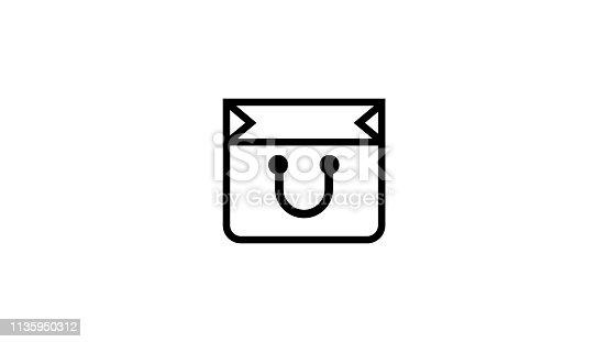 istock Shopping bag line icon 1135950312