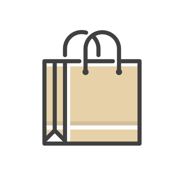 shopping bag line icon - kupować stock illustrations