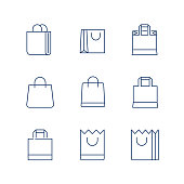 Shopping Bag Line Icon Vector / shopping bag icon / shopping bag - Vector icon. Editable stroke