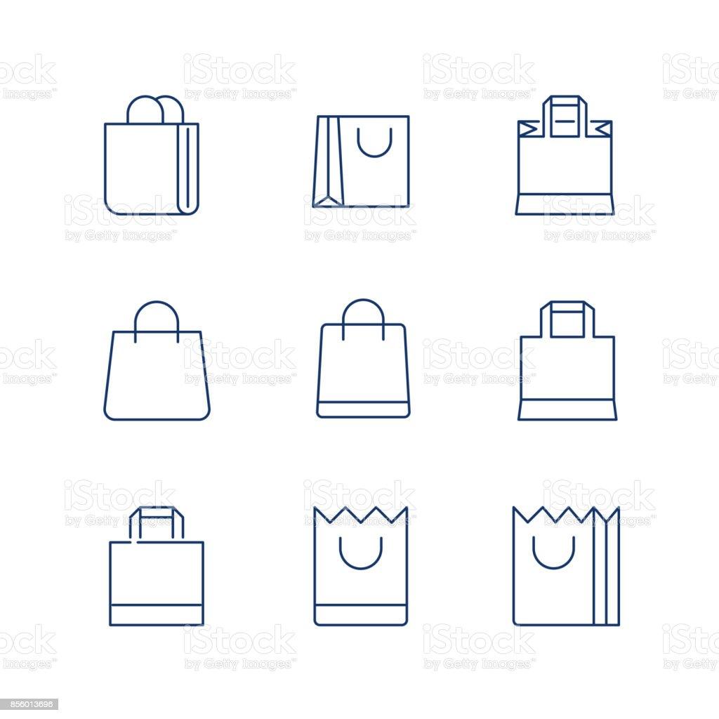 Vetor de ícone de linha de saco de compras / compras ícone do saco / saco - ícone do vetor. Curso editável - ilustração de arte em vetor