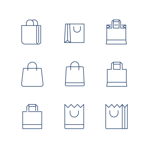 shopping bag line icon vector / shopping bag icon / shopping bag - vector icon. editable stroke - torba stock illustrations