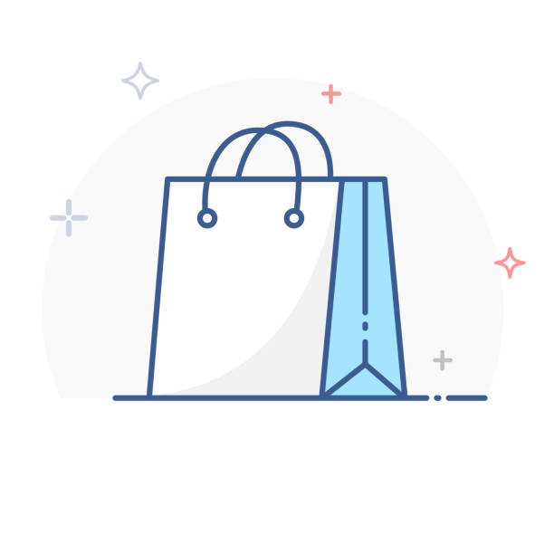 shopping bag line icon vector - kupować stock illustrations