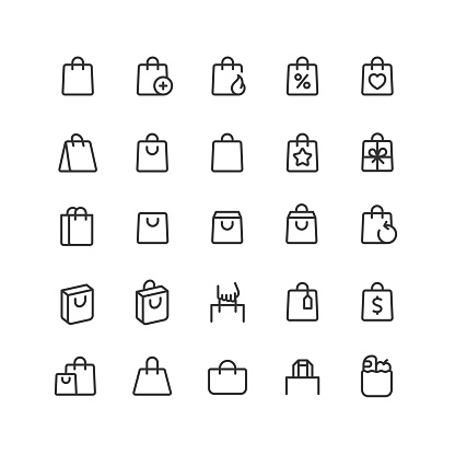 Shopping Bag Line Icons Editable Stroke