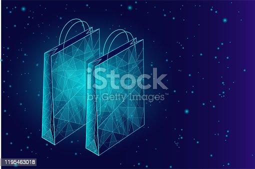 Shopping bag low poly design 3D. Online shop trade market technology. Buy now template. Mobile sale vector illustration