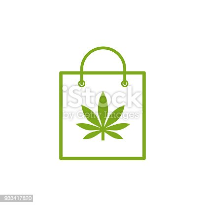 Shopping Bag Of Medicinal Cannabis Bag With Marijuana Icon Medical