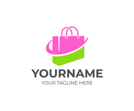 Shopping bag or handbag, package and online shop, design. Pack, store or shop, retail, shopping center and fashion, vector design and illustration