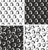 Shopping Bag or Paper Bag Aligned & Random Seamless Pattern Set