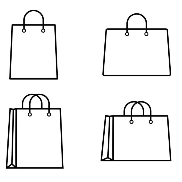 ilustrações de stock, clip art, desenhos animados e ícones de shopping bag outline icon on white background - saco