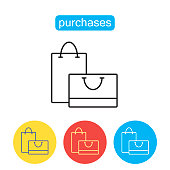 Shopping bag outline icon.