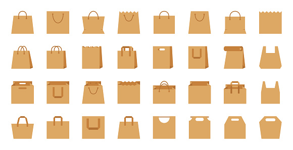 Shopping bag paper craft eco package flat icon set