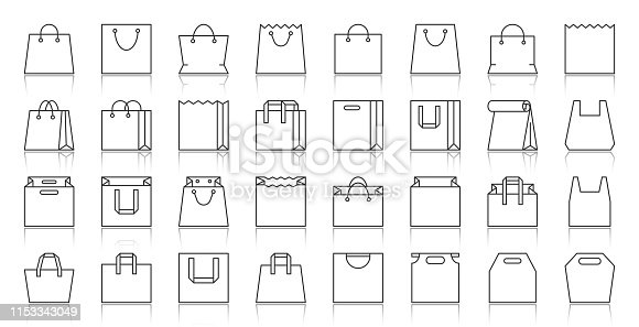 Shopping Bag thin line icons set. Outline sign package kit. Sale linear icon collection plastic handbag, present, handle. Simple paper packet black contour symbol with reflection vector Illustration