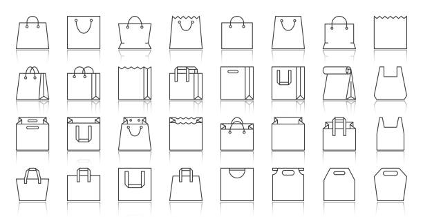 shopping bag simple black line icons vector set - torba stock illustrations