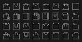Shopping Bag simple white line icons vector set