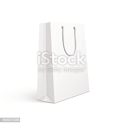Vector illustration of white paper shopping bag.