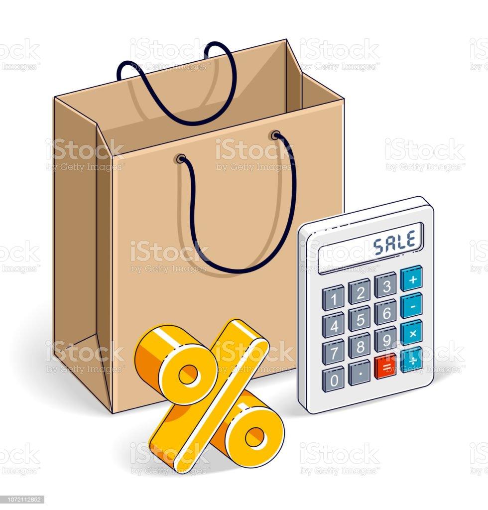 53e04ca42 Sacola de compras com calculadora e por cento símbolo grande venda, lotação  esgotada, varejo