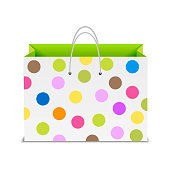 Shopping bag with color dots. Vector.
