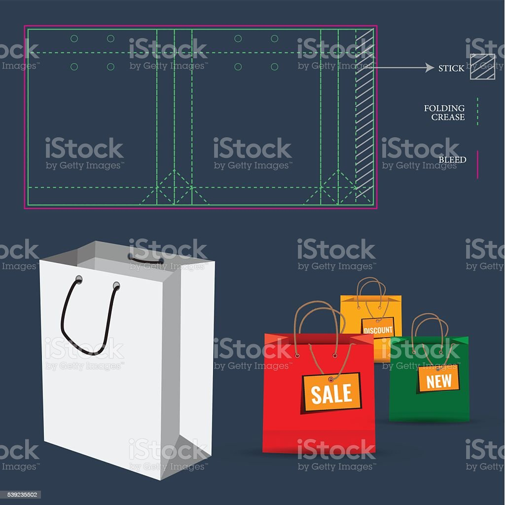 Shopping Bag with Die Cut Layout template royalty-free shopping bag with die cut layout template stock vector art & more images of backgrounds