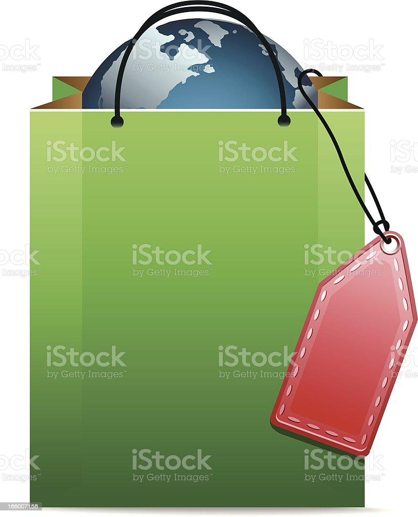 Shopping Bag with Earth royalty-free stock vector art