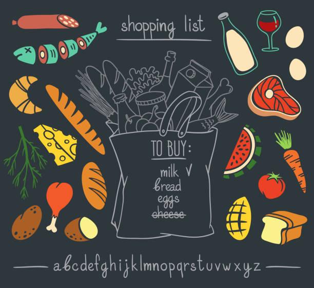 illustrazioni stock, clip art, cartoni animati e icone di tendenza di shopping bag with food and drinks on blackboard. - banchi di pesci