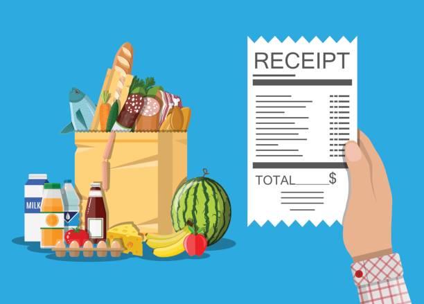 illustrazioni stock, clip art, cartoni animati e icone di tendenza di borsa della spesa con cibo e bevande, ricevuta - banchi di pesci