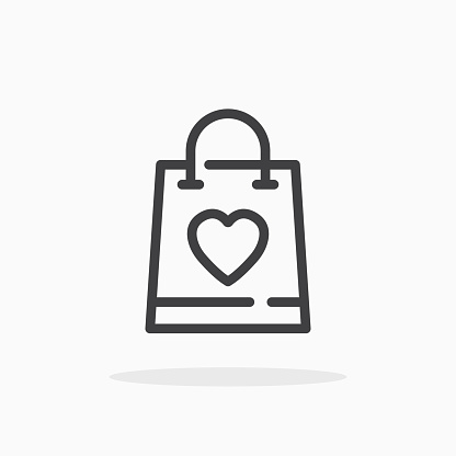 Shopping bag with heart icon in line style.