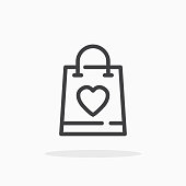 istock Shopping bag with heart icon in line style. 1201017676