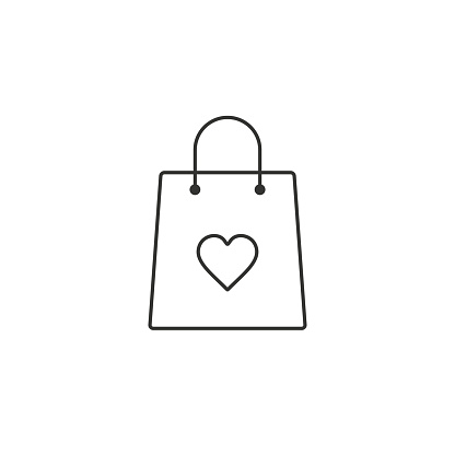 Shopping bag with heart line icon vector, I love shopping concept