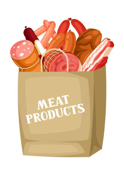 einkaufstasche mit fleischprodukten. abbildung von würstchen, speck und schinken - schweinebauch stock-grafiken, -clipart, -cartoons und -symbole