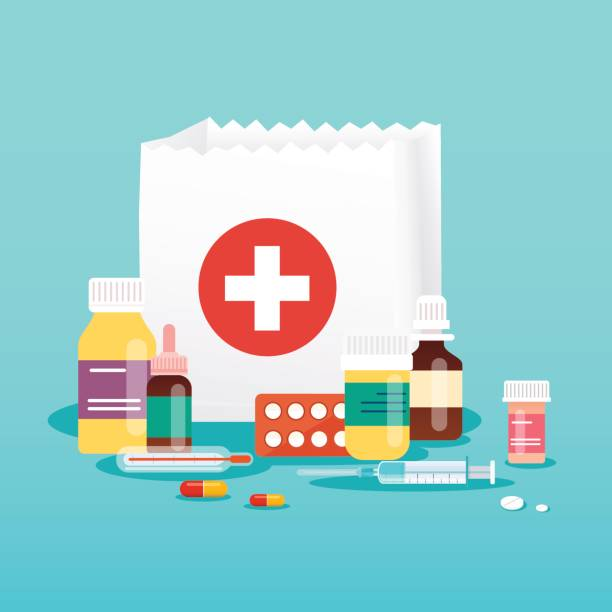 illustrazioni stock, clip art, cartoni animati e icone di tendenza di shopping bag with medical pills and bottles. medical concept. flat design style modern vector illustration concept. - prescrizione medica