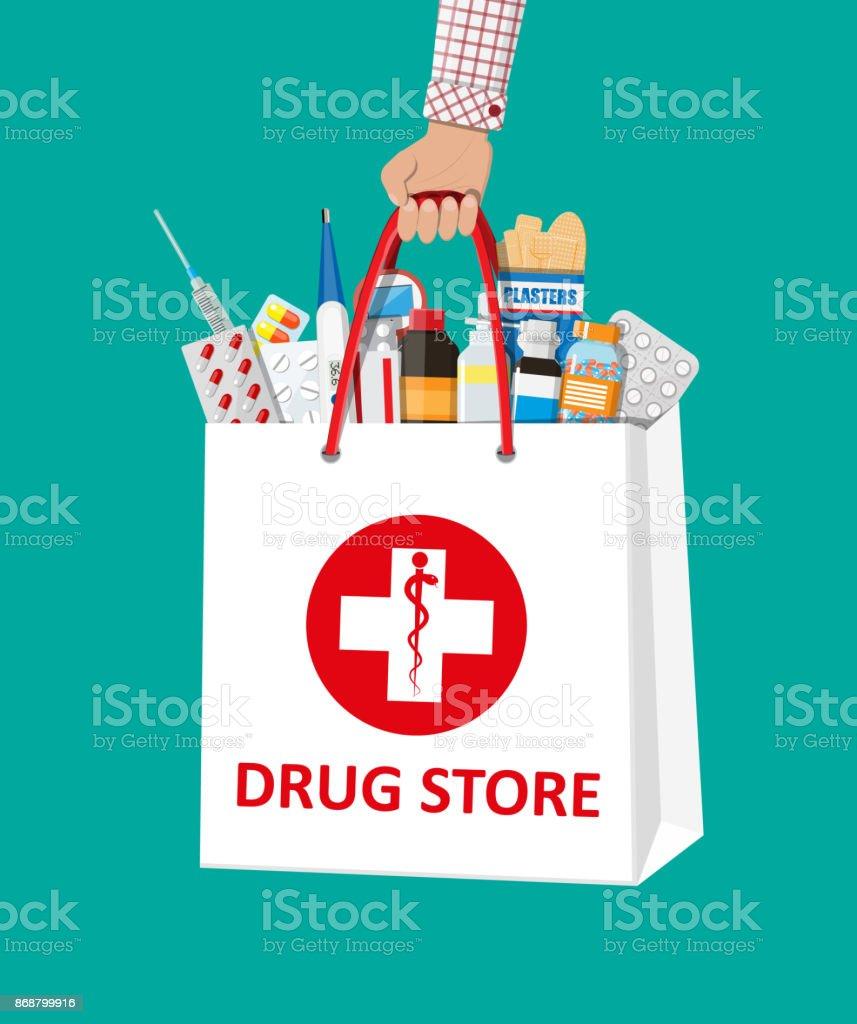 Shopping bag with medical pills and bottles vector art illustration